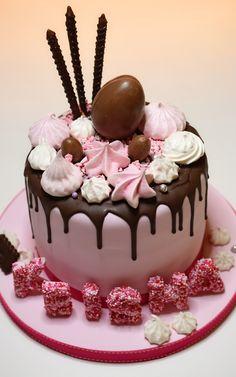 Drip chocolate birthday cake