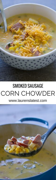 Smoked Sausage Corn Chowder, a great comfort food meal for these chilly winter days! Crockpot Recipes, Soup Recipes, Dinner Recipes, Cooking Recipes, Healthy Recipes, Recipies, Risotto, My Favorite Food, Favorite Recipes
