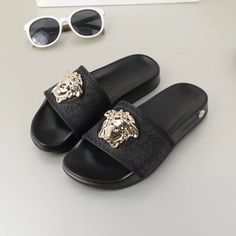 Examine looks & clothing to view what you should put on with Slip-on Sneakers. slip on sneakers outfit summer casual Versace Slides, Versace Sandals, Versace Fashion, Versace Men, Sneakers Fashion, Fashion Shoes, Fashion Goth, Fashion Casual, Beautiful Sandals