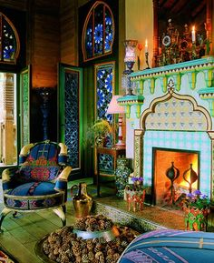 ⋴⍕ Boho Decor Bliss ⍕⋼ bright gypsy color & hippie bohemian mixed pattern home decorating ideas - Moroccan fireplace