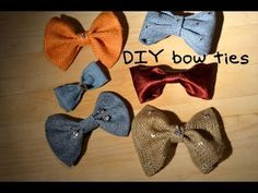 DIY Bow Ties: Great no-sew tutorial. I used my machine (due to lack of hot glue at the time). They turned out nice, and I can add them to a hair clip or a project.