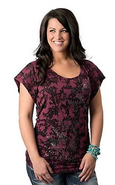 Rock & Roll Cowgirl Women's Pink and Black with Studs and Rouched Sides Short Sleeve Burnout Fashion Top