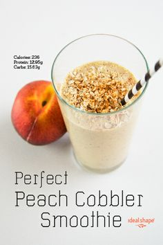 Leaves enough room to add a little yogurt! 1 scoop vanilla IdealShake mix, 8 oz almond milk, 1 peeled and pitted peach, 1/4 cup oatmeal, 1/2 tsp. cinnamon, add ice & blend.