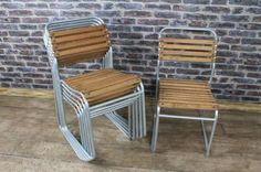 These galvanised steel chairs are a fantastic take on our large selection of vintage and industrial stacking chairs. These chairs have oiled oak slatted seats. The oil protects the oak when using these chairs outside. - See more at: http://www.peppermillantiques.com/galvanised-steel-chairs-stacking-chairs/?utm_source=dlvr.it&utm_medium=facebook&utm_campaign=Feed%3A+peppermillantiques+%28Peppermill+Antiques%29&utm_content=FaceBook#sthash.HV0iGLgk.dpuf