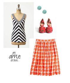 Stripes, apple skirt combo love.  @camp 1899 www.camp1899.com