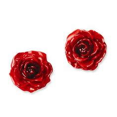 Lacquer Dipped Red Real Rose Post Earrings