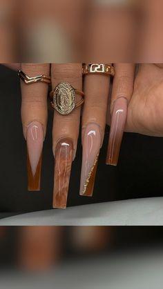 Brown Acrylic Nails, Bling Acrylic Nails, Square Acrylic Nails, Simple Acrylic Nails, Best Acrylic Nails, Cute Toe Nails, Sexy Nails, Dope Nails, Dope Nail Designs