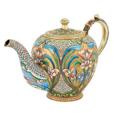 A Russian Silver-gilt and Cloisonné-enamel Teapot, Moscow Tea Cup Saucer, Tea Cups, Enamel Teapot, Cute Teapot, China Tea Sets, Teapots And Cups, Tea Art, Chocolate Pots, Tea Ceremony