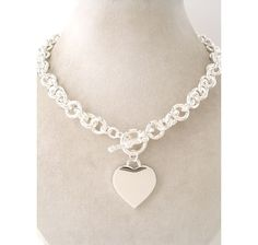 Just like Tiffany Jewelry Chunky Bold Silver Plated Chain Heart Charm Necklace $37.99 #tiffany co #Jewelry