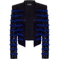 Sequined Fringe Jacket   Moda Operandi (€4.855) ❤ liked on Polyvore featuring outerwear, jackets, balmain, blue fringe jacket, blue sequin jacket, balmain jacket, sequin jacket and blue jackets