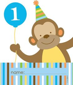 1st Birthday Favors, Party Supplies, Treats, Boy Birthday, 107 Best Monkey images   1 year birthday, birthdays