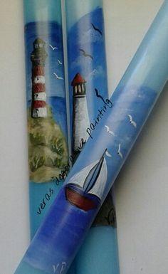 Πασχαλινή λαμπάδα ζωγραφισμένη Easter Candle, Candle Making, Easter Crafts, Voss Bottle, Decoupage, Diy Crafts, Candles, Dreams, Holiday