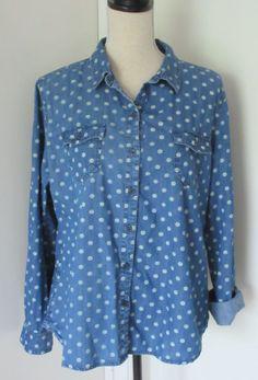 Old Navy Blue Chambray Big Dot Print Button Down Shirt Sz XL Womens Cotton Denim #OldNavy #ButtonDownShirt #Casual