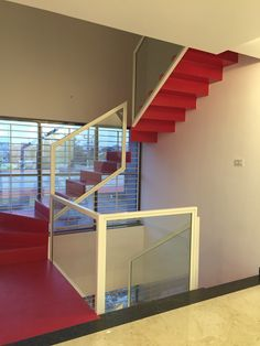Red staircase @ Mr.Dexter residence Hubli India