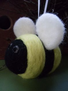 Bumblebee Needle Felted Ornament by FullyFleecedEwe