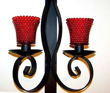 VTG Black Metal Wrought Iron Double Candle Holder Wall Sconce w 2 Ruby Votive