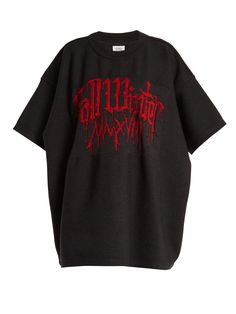 Vetements Metalhead-intarsia Wool-blend Sweatshirt In Black Swaggy Outfits, Cool Outfits, Oversized Shirt, Oversized Tops, Kpop Fashion Outfits, Aesthetic Clothes, Sweatshirts, Wool Blend, Shoulder Tops