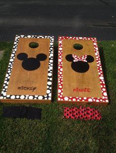 Mickey and minnie corn hole board