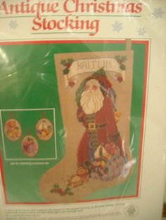 Santa Claus Antique Christmas Stocking  Kit Counted Cross Stitch Melissa Shirley #Dimensions #StockingKit