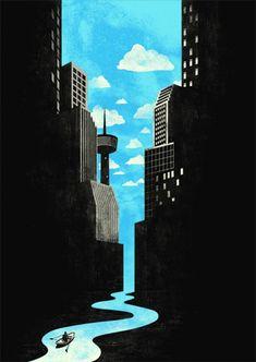 Monograph'About: Tang Yau Hoong (邓尧逢) – Conceptual Illustrator – Kuala Lumpur, Malaysia – mymindabout Negative And Positive Space, Negative Space Art, Illustration Art Nouveau, Space Illustration, Art Illustrations, City Painting, Oil Painting Abstract, City Art, Tang Yau Hoong