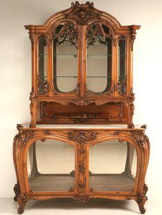 Antique French Walnut Art Nouveau China Cabinet, C.