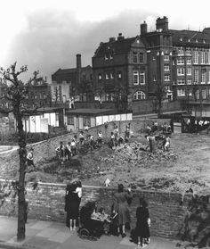 A Bomb Site by Alma School Bermondsey South East London England in Uk History, London History, British History, Family History, London Pictures, London Photos, Vintage London, Old London, Bermondsey London