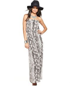 Bar III Dress, Strapless Straight Python Printed Smocked A Line Maxi - Womens Dresses - Macy's