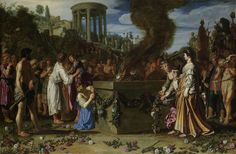 """Orestes and Pylades Disputing at the Altar, Pieter Lastman, 1614.Orestes and Pylades Disputing at the Altar, Pieter Lastman, 1614  oil on panel, h 83.2cm × w 126.1cm. More details  """"This painting depicts a story from Greek antiquity. Orestes and Pylades (left) were caught trying to steal a statue of Diana from the temple (left background). One of them will have to die. ..."""""""