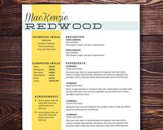 The Redwood Resume   Customizable resume template by itsprintable, $15.00