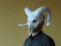 Ram Mask Ram Skull Mask Papercraft Halloween Party by Paperstatue