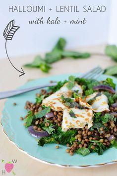 Recipe: Halloumi + Lentil Salad with Kale + Mint