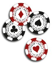Personalised Poker Chips by www.DestinationStationery.com. Cute idea for save the date