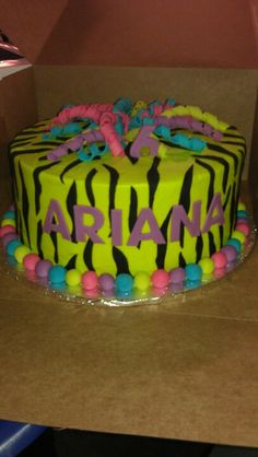 Neon zebra cake - different colored ballz