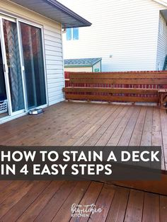 to Stain a Deck in 4 Easy Steps How to stain a deck in 4 easy steps. This DIY deck renovation uses Behr's Premium Deck Stripper, Wood Cleaner and Semi-Transparent Stain.Deck Deck may refer to: Semi Transparent Stain, Easy Deck, Dyi Deck, Diy Home, Home Decor, Deck Construction, Home Remodeling Diy, Deck Decorating, Deck Plans
