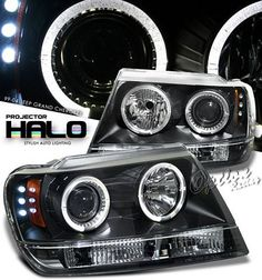 Jeep Grand Cherokee 1999-2004 Black Dual Halo Projector Headlights ...