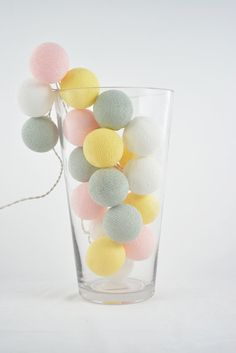 35 Lights   Sweet  Pastel 4 Color  Cotton Ball String by YooCotton