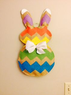 Burlap Easter Bunny door hanger on Etsy, $30.00
