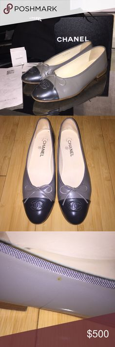 Authentic Chanel Flats in Grey/Dk Grey Excellent condition. Always worn with removable and washable inserts so they are very clean and still smell new. These run a whole size small so even though they are an 11.5, I'm listing them as a 10.5. Comes with Chanel box, dust bags, care instructions, envelope and original receipt from Saks Fifth Avenue in Beverly Hills. You will love these shoes. They are so well made and gorgeous. CHANEL Shoes Flats & Loafers