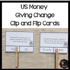 US Money Giving Change Clip and Flip Cards united states money hands on activity to learn about money. Money idea or lesson for teaching. Montessori Math, Montessori Elementary, Montessori Materials, Elementary Math, Counting Activities, Hands On Activities, Teaching Money, Teaching Kids, Flip Cards