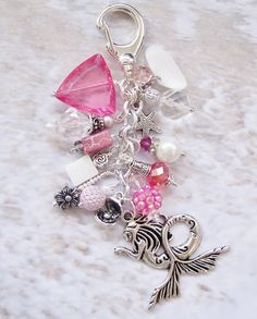MERMAID PURSE CHARM, Pink, Starfish, Flowers, Pearl, Clamshell Charm, Mother of Pearl, Faceted Crystals, Beachy Colors