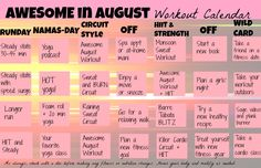 AWESOME August workout!