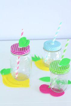 DIY Fruitful Drink Coasters & Mason Jar Lids | @kimbyers