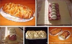 Meatloaf in pastry at home. This is delicious. Ingredients: - 50 g Hungarian Cuisine, Hungarian Recipes, Russian Recipes, Baking Recipes, Snack Recipes, Good Food, Yummy Food, Meat Loaf, Polish Recipes