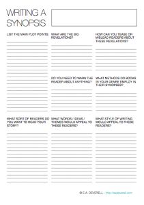 3-page writing worksheet to help you write a synopsis. This can really help to boil down your story!