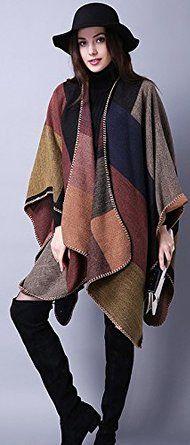 Women's Winter Reversible Oversized Blanket Poncho Cape Shawl Cardigans