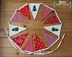 FREE SHIPPING - Red Christmas Fabric Bunting Banner - Removable button-on green felt Christmas trees attach to flags and pennants. $34.00, via Etsy.