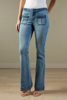 braided trim flare jeans Ladies Boutique, Flare Jeans, Trending Outfits,  Braids, Bang 1e6dda0d7138