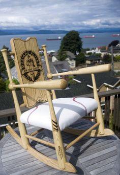 Supple Rocker, a rocking chair built from baseball bats