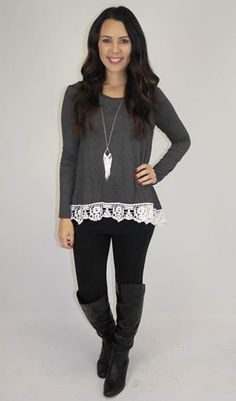 Picture of Ivy Laced Edge LS Tee (charcoal-white)