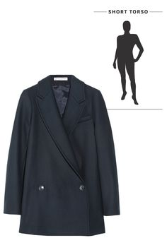 The Perfect Coats To Flatter EVERY Body #refinery29  http://www.refinery29.com/38583#slide-5  Short Torso — Blazer coats are not only on-trend, they also happen to flatter a range of body types. This shape, with its long lapel, will help elongate a short torso. Just remember to pick a hem that's not too far past your hips, so you can show off the length of your legs as well. Paul and Joe Sister Coast jacket blue spirit, $495, av...